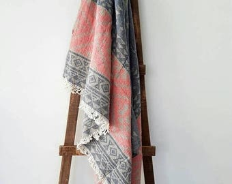 SALE Boho beach towel - Authentic Scarf blanket - Pure Cotton towel - Yoga Towel Mat - Fringed Fouta Towel - Beach&pool towel