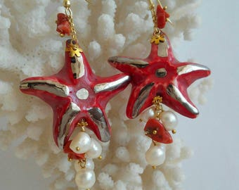 Caltagirone ceramics Starfish earrings with white pearls and silver, coral,