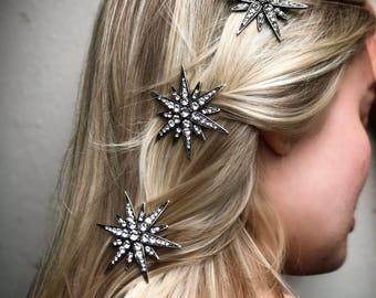 Starburst Hair Clip Barrette Star Crystal Rhinestone 'Linx'