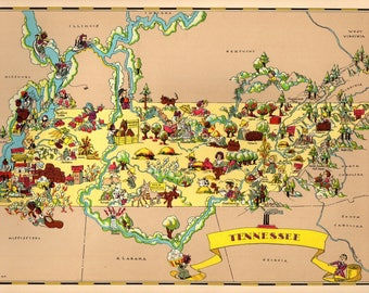 Map Of Tennessee Etsy - Map of tennessee