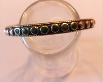 Vintage Sterling Silver Green Turquoise Bangle