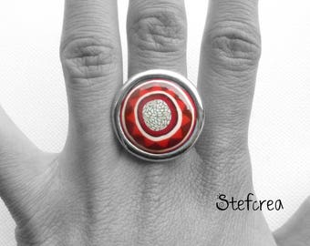 "Ring original polymer ""Bucaramanga"" red silver"