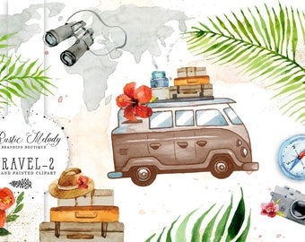 Travel Clipart ,Vintage Van, Watercolor Clipart ,Safari Illustration, Hand Painted ,Floral Clipart Instant Download Clipart