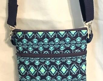 Quilted Hipster bag, Diamond Messenger Bag, Dark Crossover Bag, Runaround Bag, Zippered Purse, Adjustable Strap, Key Fob, Coin Purse