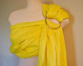 Yellow Linen Ring Sling - Baby Carrier -  Ring Sling - Baby Sling - Linen Ring Sling - 100% Linen Ring Sling - Newborn Essentials - Canadian