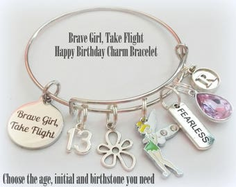 13th Birthday for Girl, 13th Birthday Charm Bracelet with Fairy Charm, Gift for 13 Year Old Girl, Custom Birthday Gift for 13th Birthday