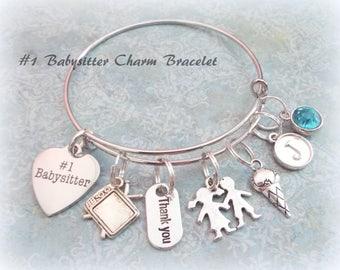 Babysitter Gift Charm Bracelet, Gift for Babysitter, Thank You Babysitter Gift Ideas, Personalized Babysitter Gift, In Appreciation Gift