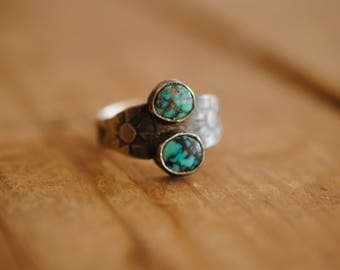 Two Stone Stamped Ring | Size 6.25
