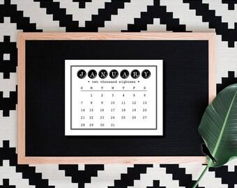2018 Printable Desk Calendar - Minimalist Black Typewriter Calendar - Small Desk 12 Month Calendar - 2018 Instant Download Calendar