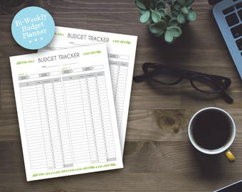 Printable Budget Tracker - Pretty Leaf Home Bi-Weekly Budget Sheets - Printable Planner Page - DIY Printable Home Organzing Instant Download