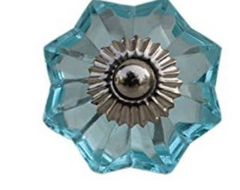 Turquoise Faceted Octagonal Glass Knob for Drawers, Dressers, Cabinets, Desks, Hutch - i1009