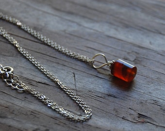 Carnelian Genuine Gemstone Pendant Necklace