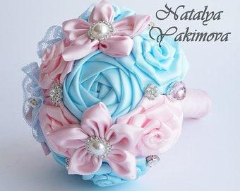Ready To Ship. Toss bouquet, Bridesmaid's bouquet, Blue Pink, mini bouquet, Wedding Accessories