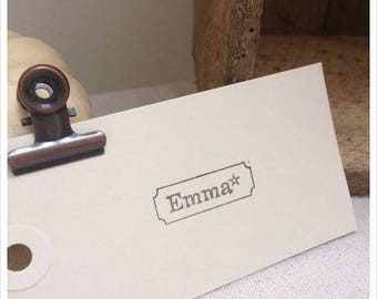 Pretty antique rubber stamp unmounted name with decorative star height 1.2 cm