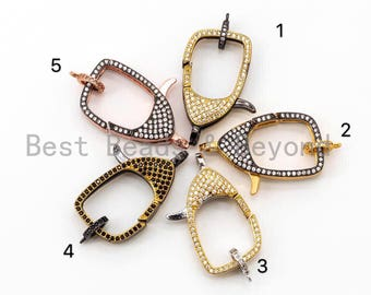 CZ Dual Color Clear Micro Pave Square Lobster Claw Clasp, Cubic Zirconia Pave Clasp/Connector/Link, 17x31mm, sku#H96