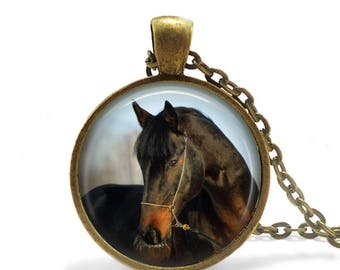 Horse Jewelry,Horse Gifts, Horse Pendant Necklace,Brown Horse Keychain, Equestrian Gifts,Equestrian Jewelry