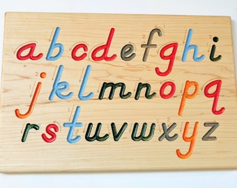 Alphabet Tracing board - Montessori Alphabet - Special needs - dexterity board - D'Nealian writing board - alphabet tracer - Lowercase