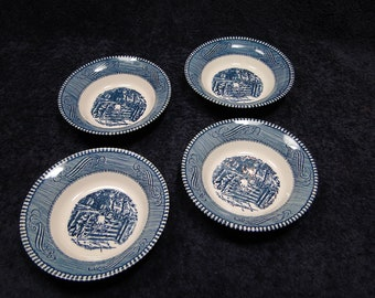 FOUR Currier Ives Royal China Blue & White Farm Gate Berry Bowls Set of 4 EXCELLENT!