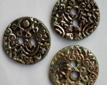 3 ceramic buttons, raku ceramic, stoneware buttons, hand made, OOAK