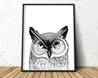 Forest Print Nursery, Forest Decor Nursery, Forest Owl Wall Art, Watercolor Owl Print, Owl Nursery Theme, Wise Owl Decor, Wise Owl Art Print