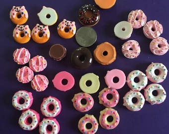 14 pcs Resin Kawaii Iced Pink Chocolate Polka Dot Assorted Doughnut Cabochons As Seen In Photo For Jewelry, Decoden, Scrapbooking & More!
