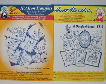 Aunt Martha's Hot Iron Transfers #9773 and #3819, Gaggle of Geese and Love in Bloom