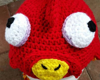 Handmade Crocheted Rooster Hat. Halloween Costume Red Chicken Hat.