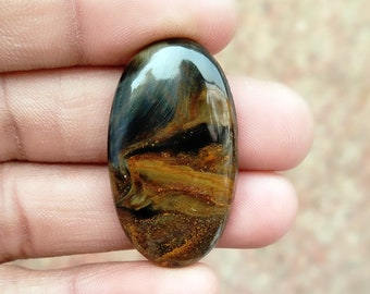 Warm sell 32.5ct Golden Pietersite Natural Gemstone Super Quality AAA+++  Cabochon , Smooth, Oval Shape, 35x20x5mm Size, AM305