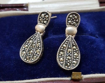 Vintage Sterling Silver Earrings, Modernist, Marcasite Stud/dangle