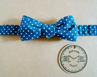 Bow tie Navy Blue polka dot adjustable to order