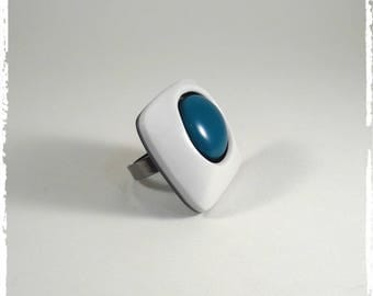 Blue and white polymer clay ring