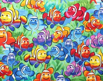 Multicolored fish print by Michael Searle for Timeless Treasures.