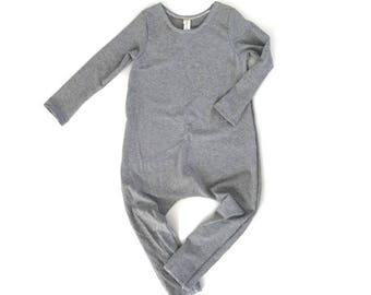 LIGHT GREY Romper- Short or Long Sleeve | Short sleeve romper, harem romper, baby onesie, solid romper