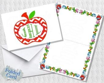 Teacher Note Cards; Apple Monogram; Folded Card; Postcard; PDF; E-Card