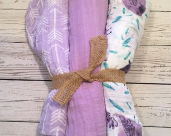 Purple Arrows, Purple, and Lilac Bird Swaddle Blankets- Set of 3