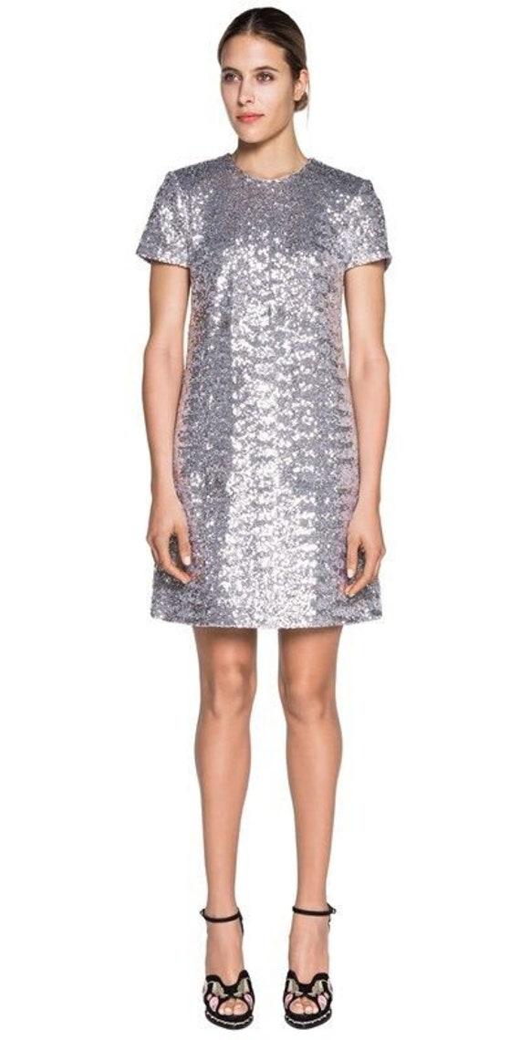 Gorgeous CUE silver sequin A line dress size 6