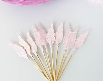 10 Small cake-toppers pink feathers with glitter decorations