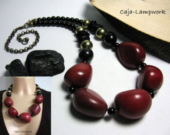 Red Black statement necklace, very large Tagua beads