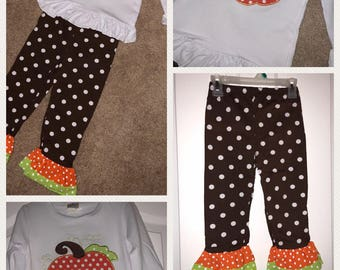 Appliqued Fall Pumpkin Outfit Can Add Name or monogram (in heat transfer vinyl in brown) or Leave Blank Ready to Ship. Size 5