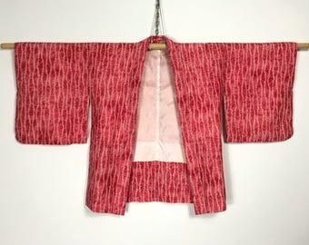 D915 Vintage 50s Japanese Haori Kimono Womens Cardigan Jacket Pink
