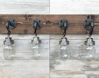 Bathroom Vanity Mason Jar Light quart mason jar light fixture rustic industrial wall sconce