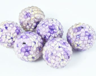 22mm Purple Flower Textured Resin Wooden Round Beads, Wooden beads, Wholesale Bead, Basketball Wives Bead,Rhinestone Beads,Resin beads