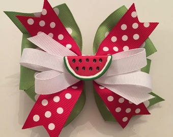 Watermelon Hair Bow, Watermelon Bow, Red and Green Watermelon Bow, Green Polka Dot Bow, Red Polka Dot Bow, Watermelon Center, Summer Bows