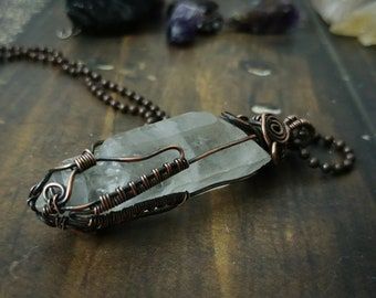 Wire Wrapped Raw Quartz Crystal Point Pendant Necklace