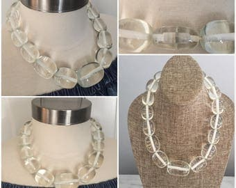 Oversized Chunky Clear Acrylic graduated Bead Statement Necklace