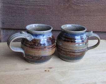 Vintage Pottery Mugs Set of 2 | Studio Art Pottery | Housewarming Gift | Hand Crafted