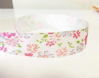 Flower ribbon, floral ribbon, 1 inch ribbon, grosgrain ribbon, hairbow supplies, scrapbooking, ribbon by the yard