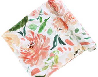 Secret Garden Oversized Swaddle Blanket | Super Soft Large Swaddle Blanket | Coral Floral | Stretchy Swaddle Baby Gift | Watercolor