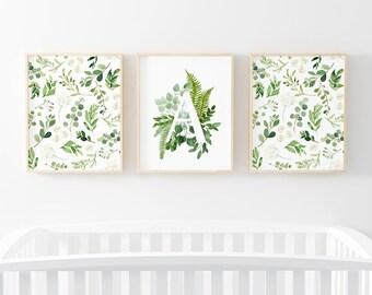 Leafy Grennery WIth Letter Nursery Digital Print | Leafy Wall Art |  Baby Boy or girl Nursery Decor | Leafy Greenery Letter Digital Bundle