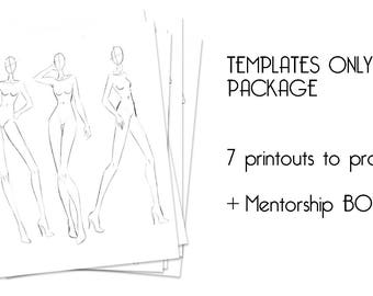 Fashion Illustration Templates for Beginners Instant Download (Female Croquis, Male Croquis, Kids Croquis) +Online Guidance